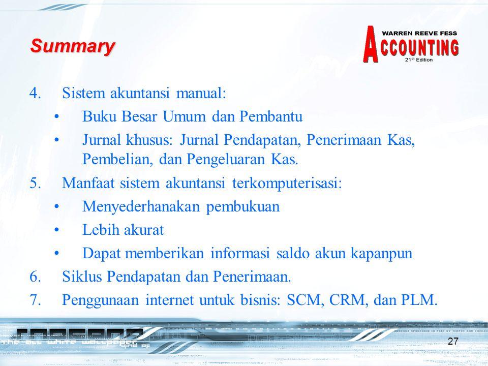 Summary Sistem akuntansi manual: Buku Besar Umum dan Pembantu
