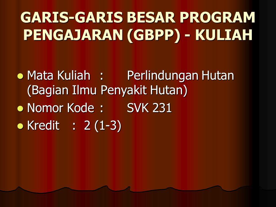 GARIS-GARIS BESAR PROGRAM PENGAJARAN (GBPP) - KULIAH
