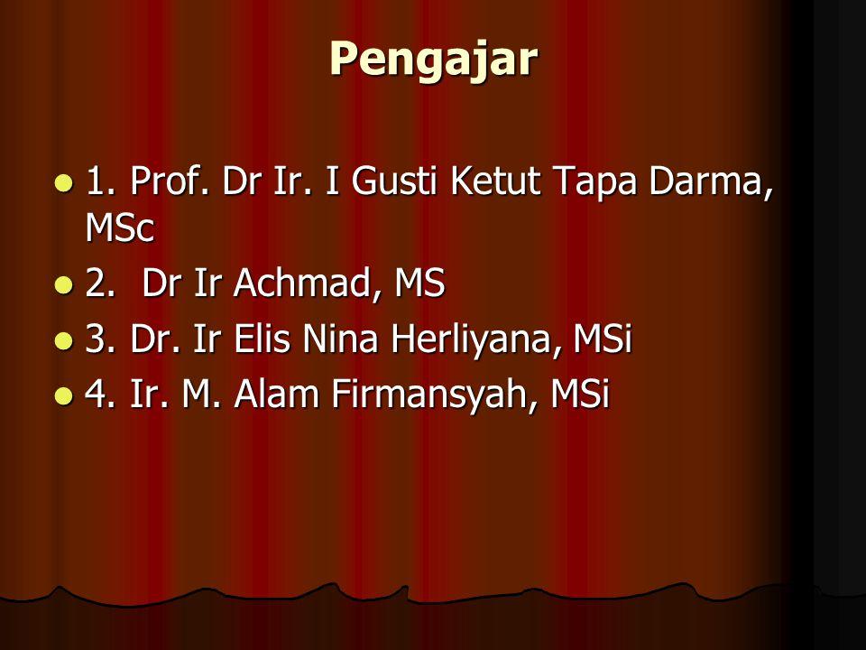 Pengajar 1. Prof. Dr Ir. I Gusti Ketut Tapa Darma, MSc