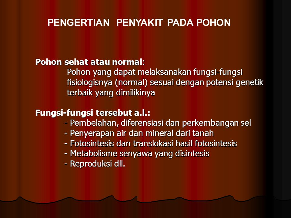 PENGERTIAN PENYAKIT PADA POHON