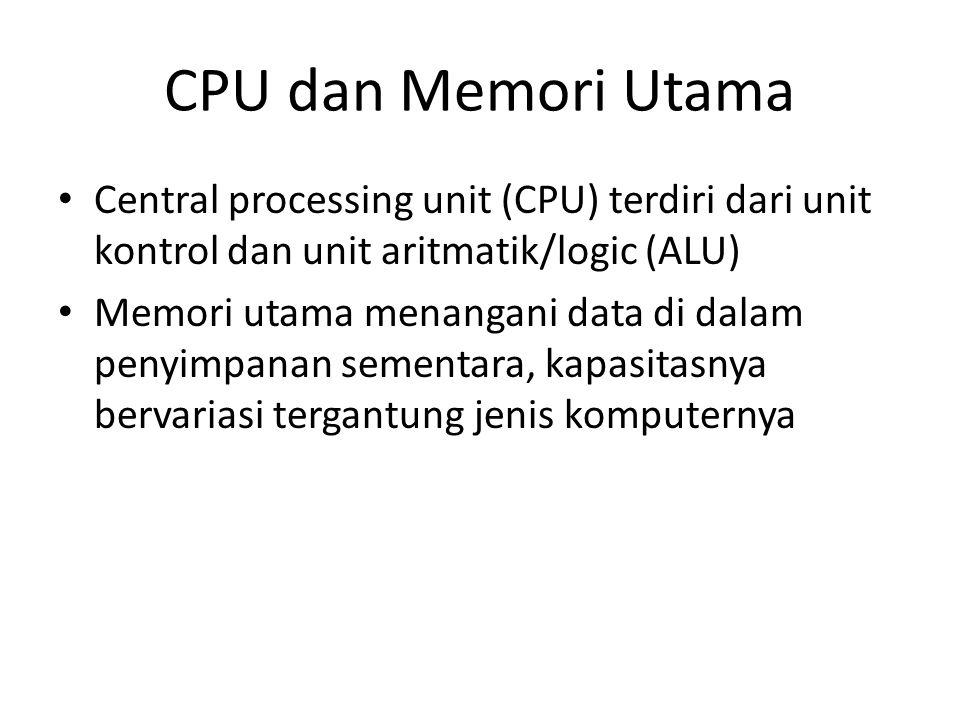 CPU dan Memori Utama Central processing unit (CPU) terdiri dari unit kontrol dan unit aritmatik/logic (ALU)