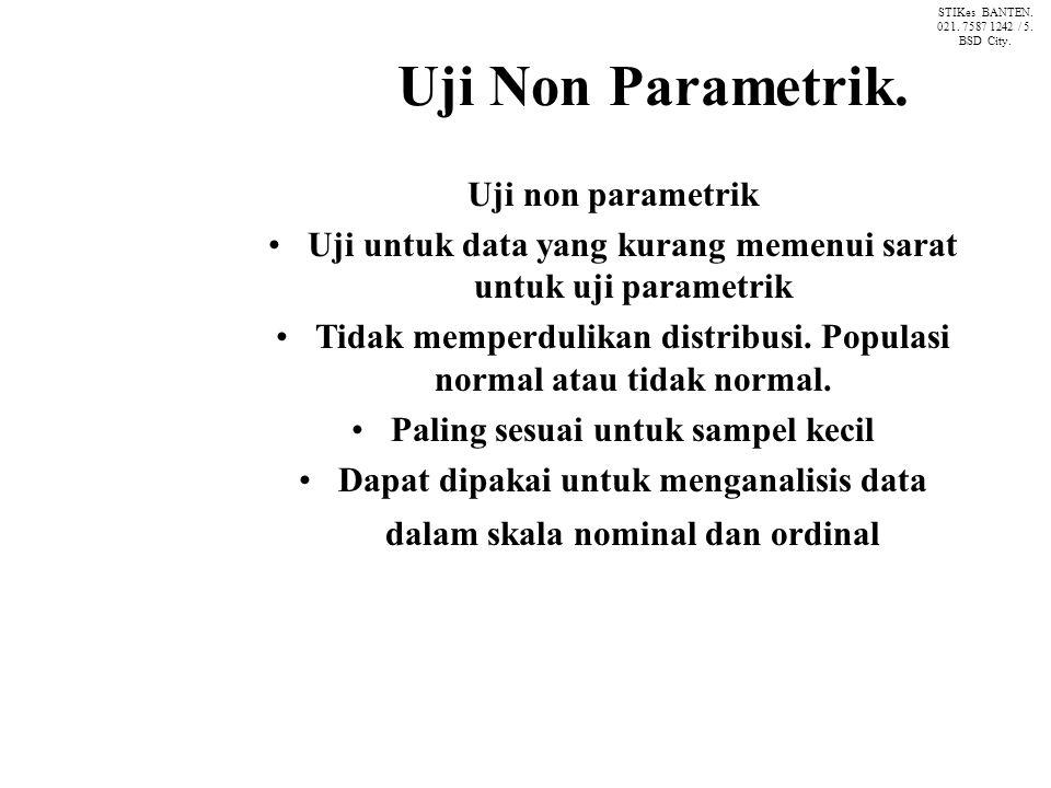 Uji Non Parametrik. Uji non parametrik