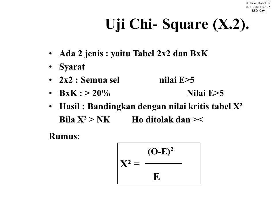Uji Chi- Square (X.2). X² = E Ada 2 jenis : yaitu Tabel 2x2 dan BxK