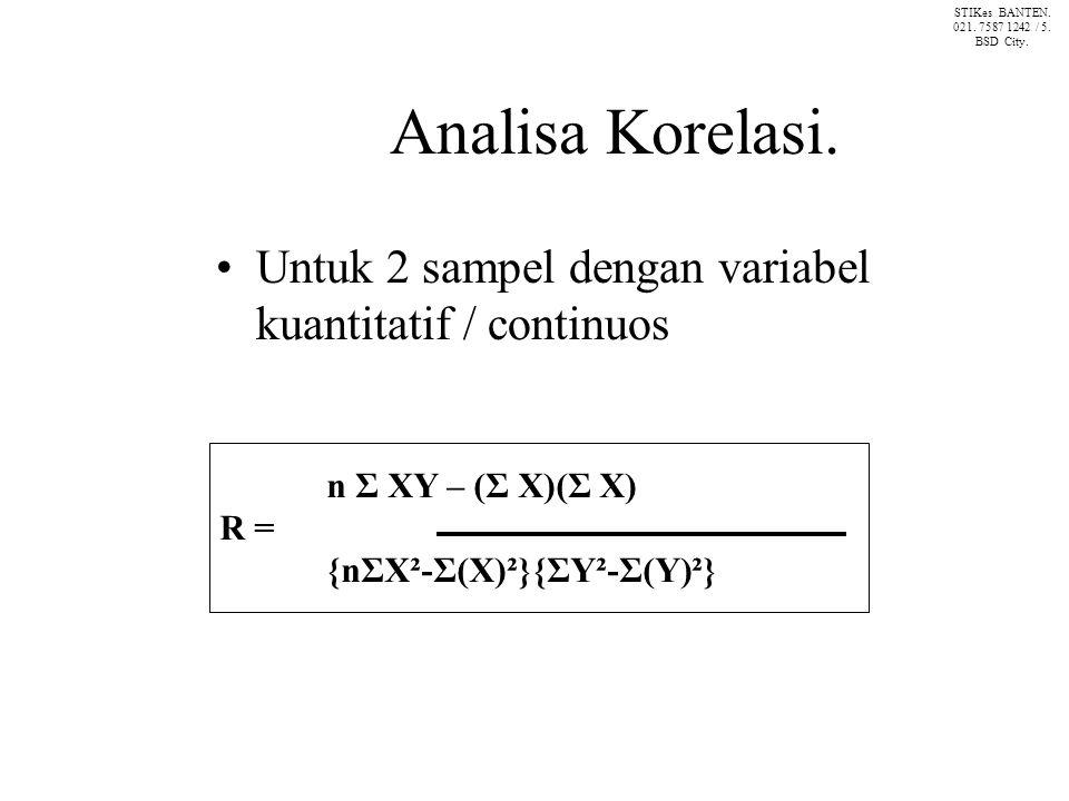 STIKes BANTEN. 021. 7587 1242 / 5. BSD City. Analisa Korelasi. Untuk 2 sampel dengan variabel kuantitatif / continuos.