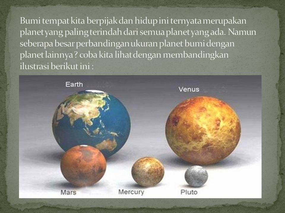 Bumi tempat kita berpijak dan hidup ini ternyata merupakan planet yang paling terindah dari semua planet yang ada.