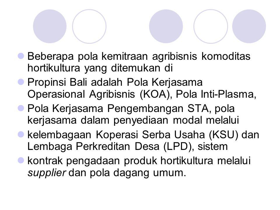 Beberapa pola kemitraan agribisnis komoditas hortikultura yang ditemukan di