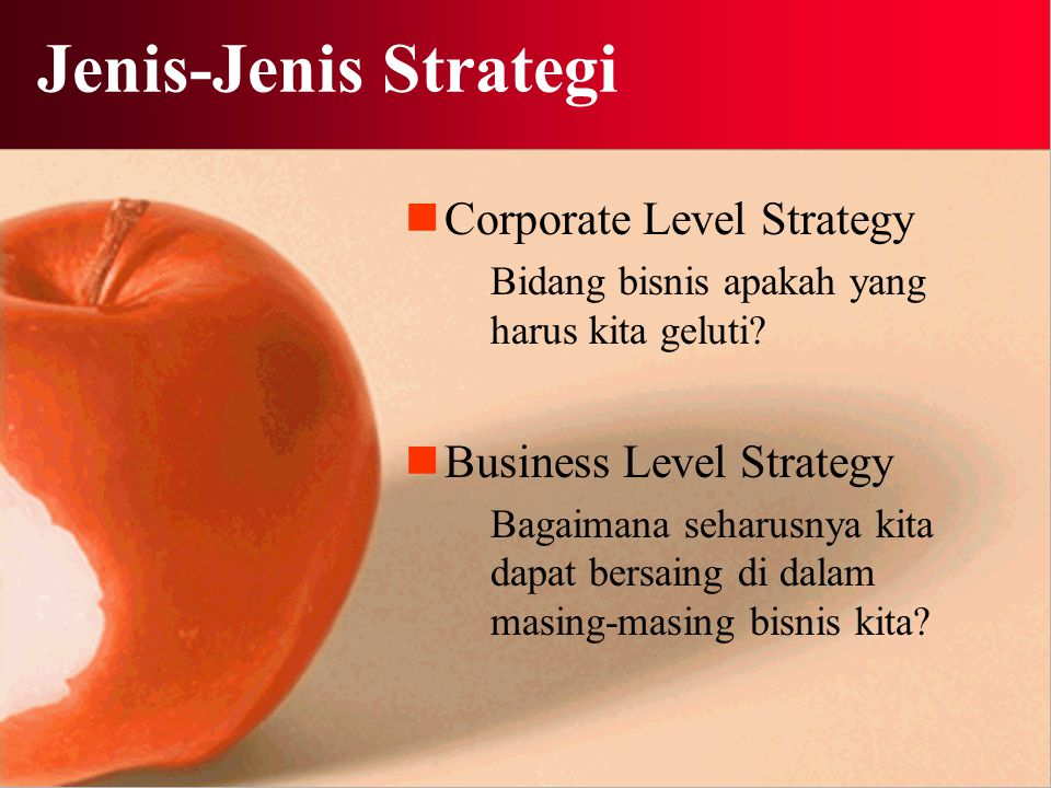 Jenis-Jenis Strategi Corporate Level Strategy Business Level Strategy