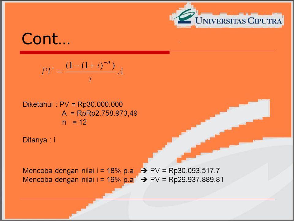 Cont… Diketahui : PV = Rp30.000.000 A = RpRp2.758.973,49 n = 12