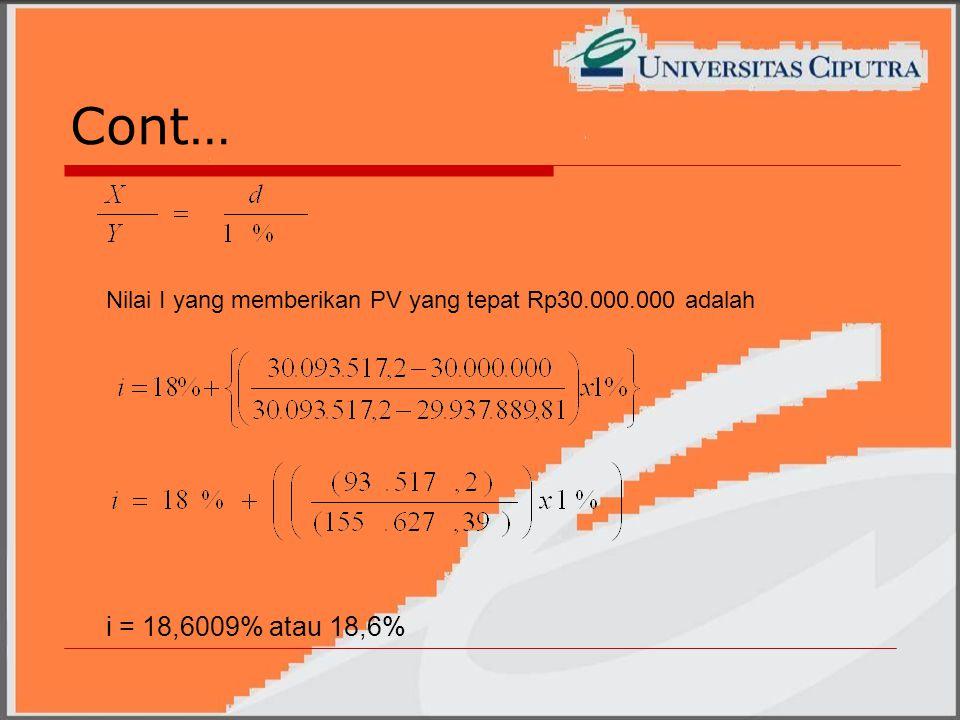 Cont… Nilai I yang memberikan PV yang tepat Rp30.000.000 adalah i = 18,6009% atau 18,6%