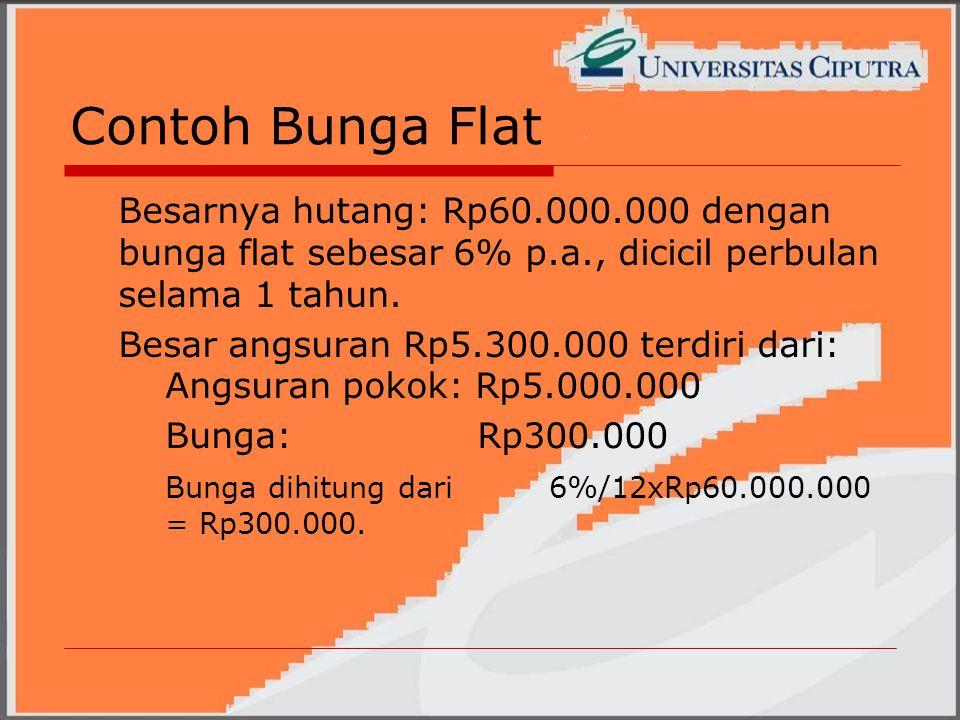 Contoh Bunga Flat Besarnya hutang: Rp60.000.000 dengan bunga flat sebesar 6% p.a., dicicil perbulan selama 1 tahun.