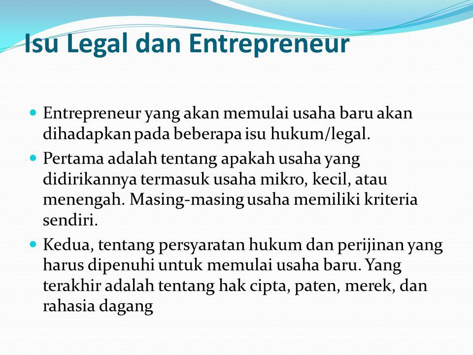 Isu Legal dan Entrepreneur