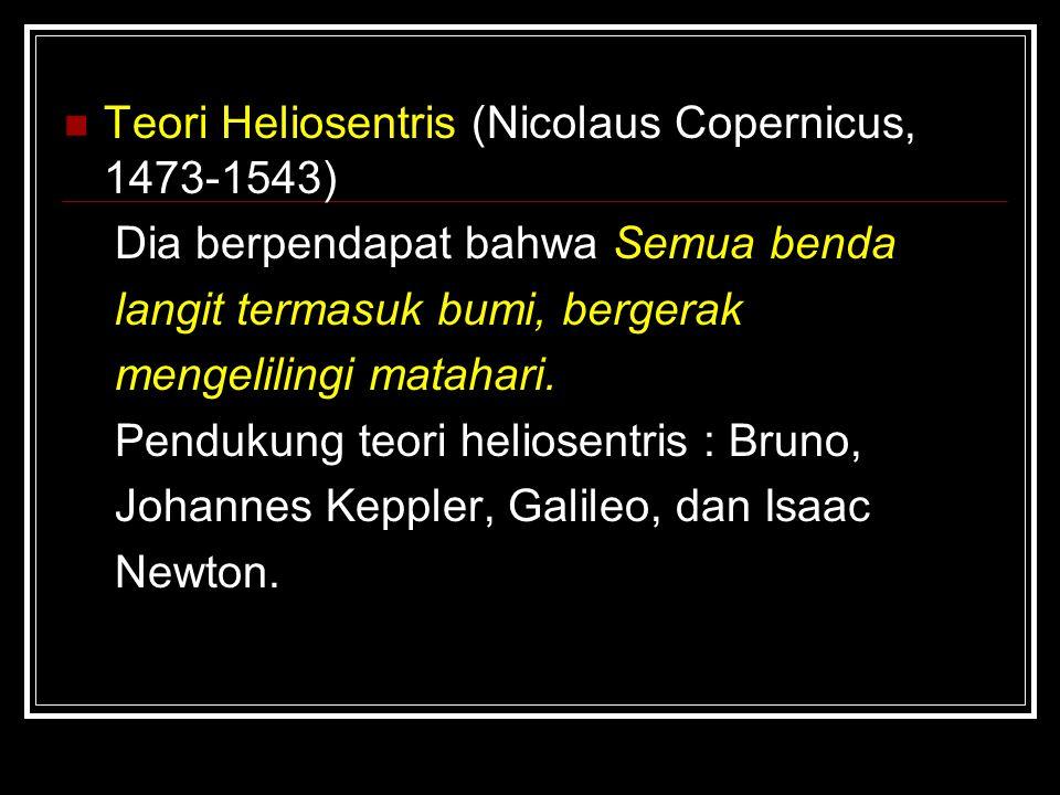 Teori Heliosentris (Nicolaus Copernicus, 1473-1543)