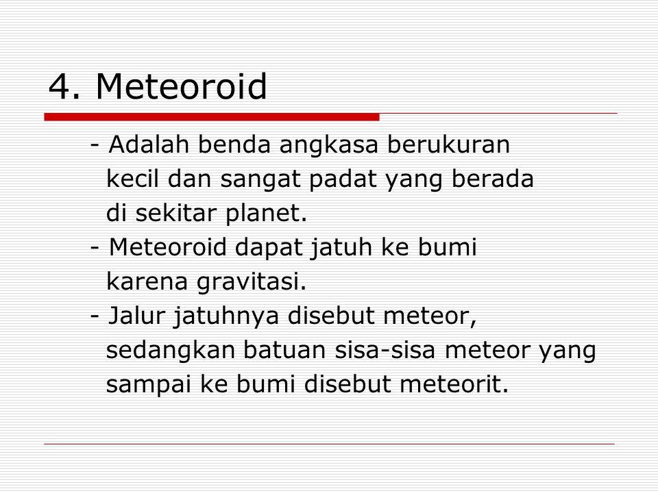 4. Meteoroid - Adalah benda angkasa berukuran