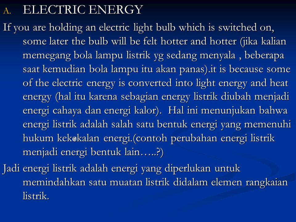 ELECTRIC ENERGY