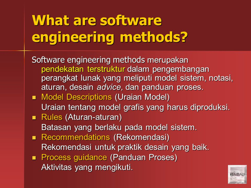 What are software engineering methods