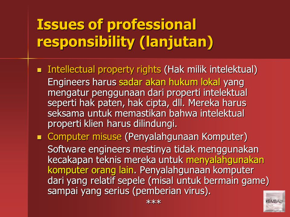 Issues of professional responsibility (lanjutan)