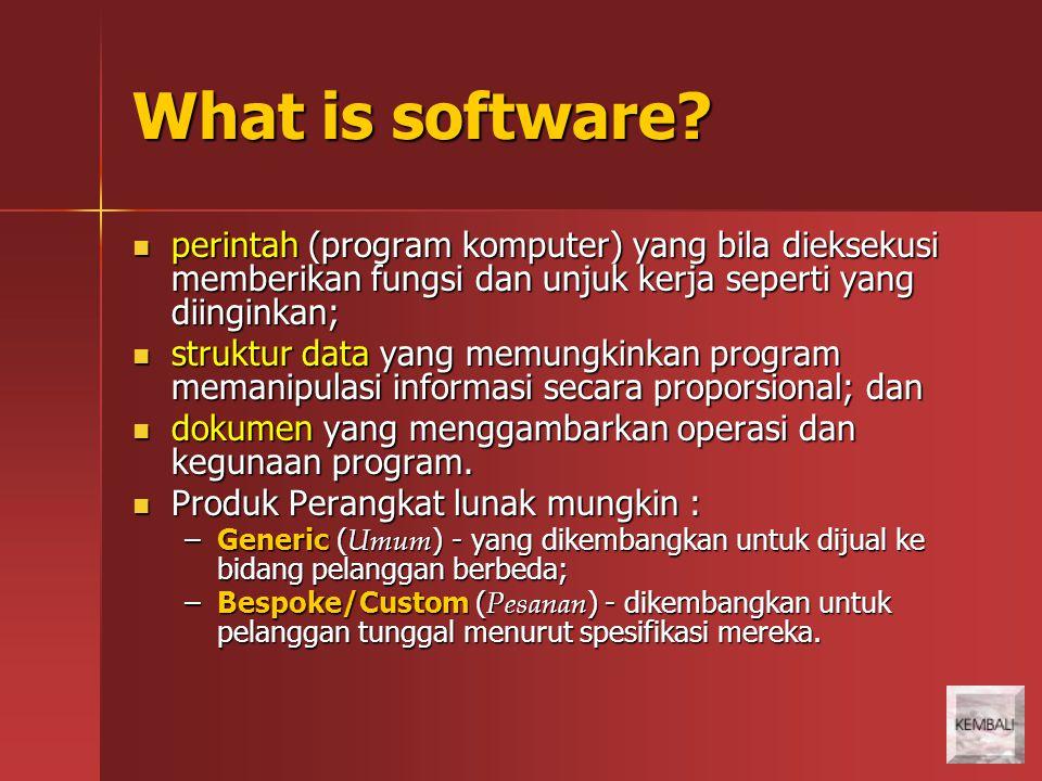 What is software perintah (program komputer) yang bila dieksekusi memberikan fungsi dan unjuk kerja seperti yang diinginkan;