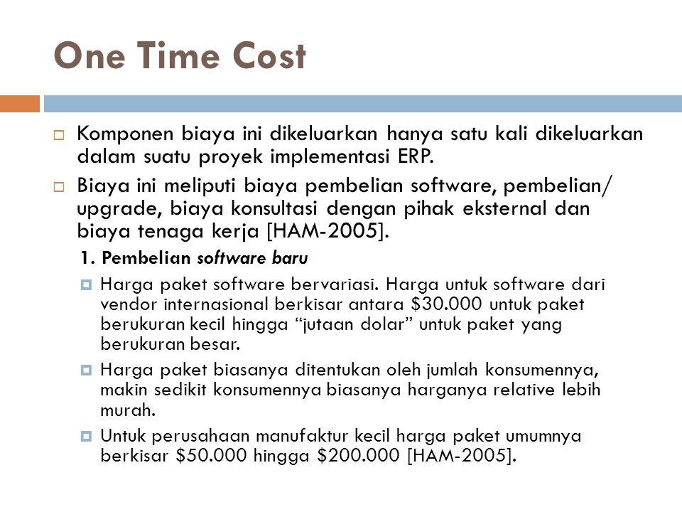 One Time Cost Komponen biaya ini dikeluarkan hanya satu kali dikeluarkan dalam suatu proyek implementasi ERP.