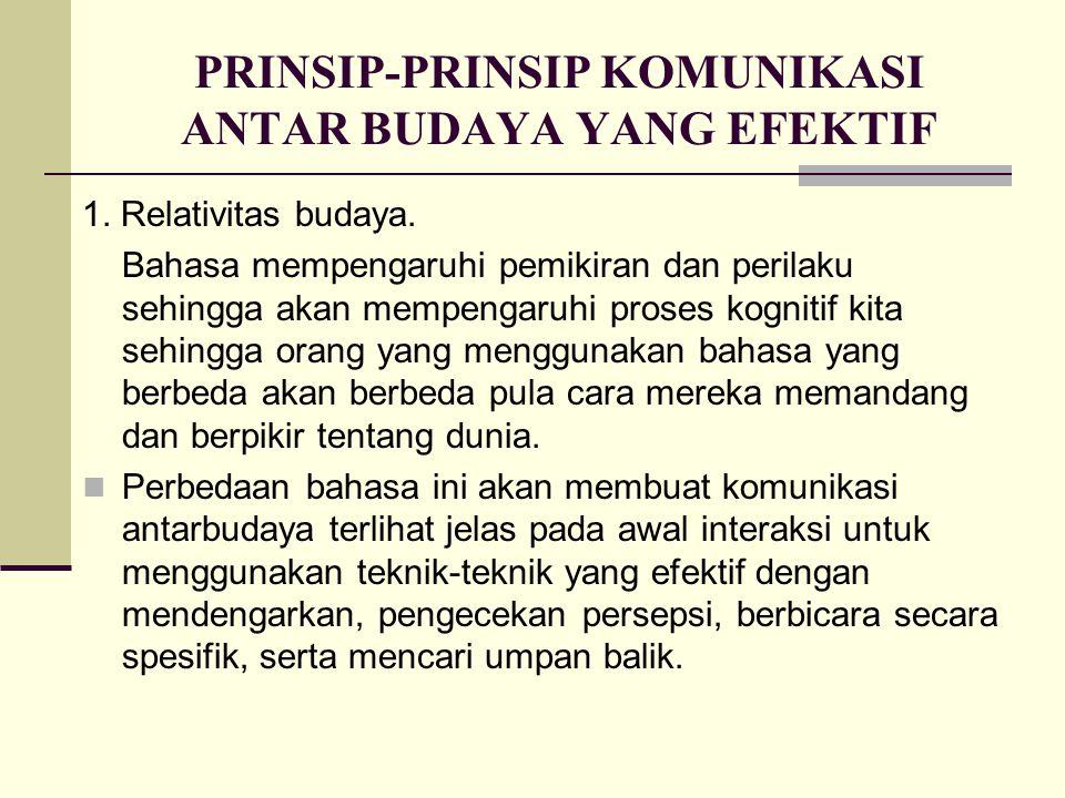 PRINSIP-PRINSIP KOMUNIKASI ANTAR BUDAYA YANG EFEKTIF