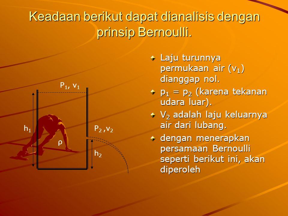 Keadaan berikut dapat dianalisis dengan prinsip Bernoulli.