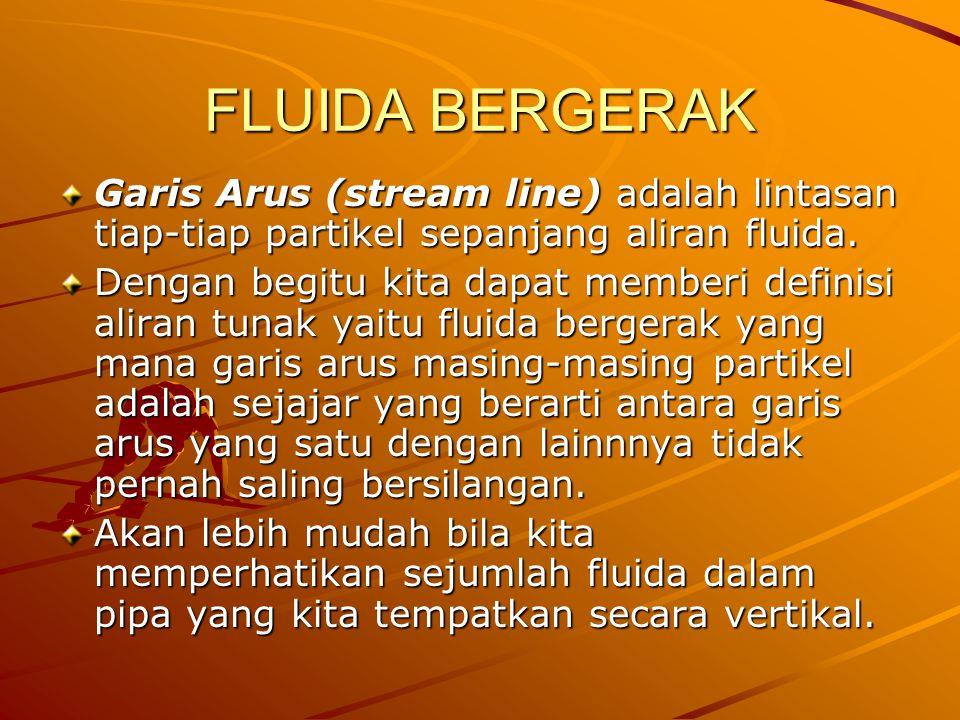 FLUIDA BERGERAK Garis Arus (stream line) adalah lintasan tiap-tiap partikel sepanjang aliran fluida.