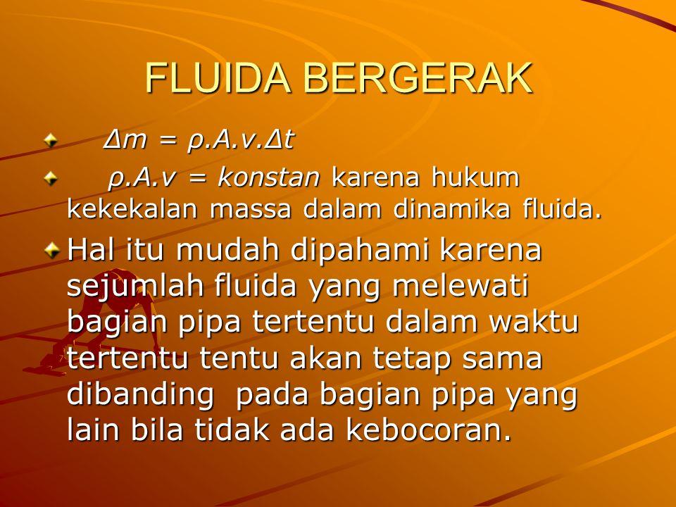 FLUIDA BERGERAK ∆m = ρ.A.v.∆t. ρ.A.v = konstan karena hukum kekekalan massa dalam dinamika fluida.