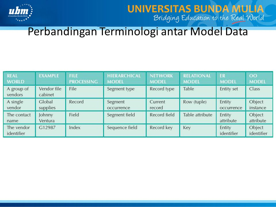 Perbandingan Terminologi antar Model Data
