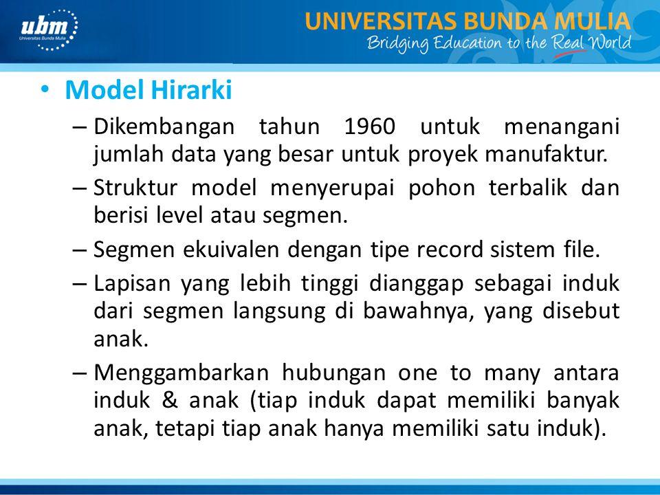Model Hirarki Dikembangan tahun 1960 untuk menangani jumlah data yang besar untuk proyek manufaktur.