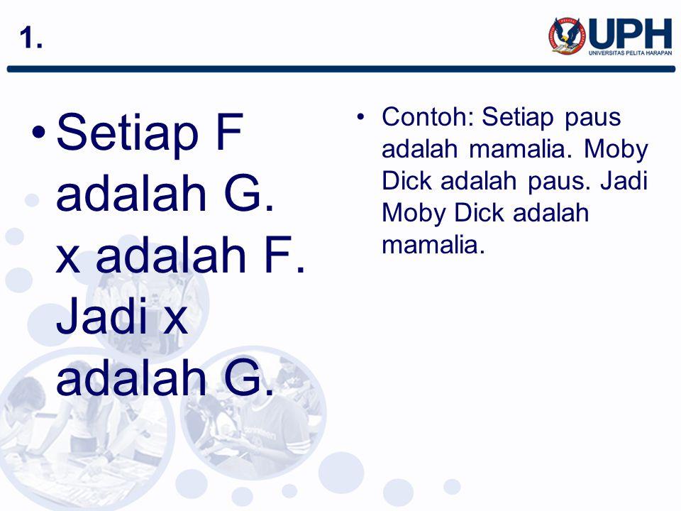 Setiap F adalah G. x adalah F. Jadi x adalah G.