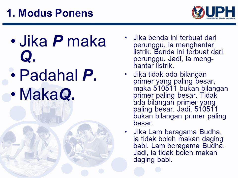 Jika P maka Q. Padahal P. MakaQ. 1. Modus Ponens