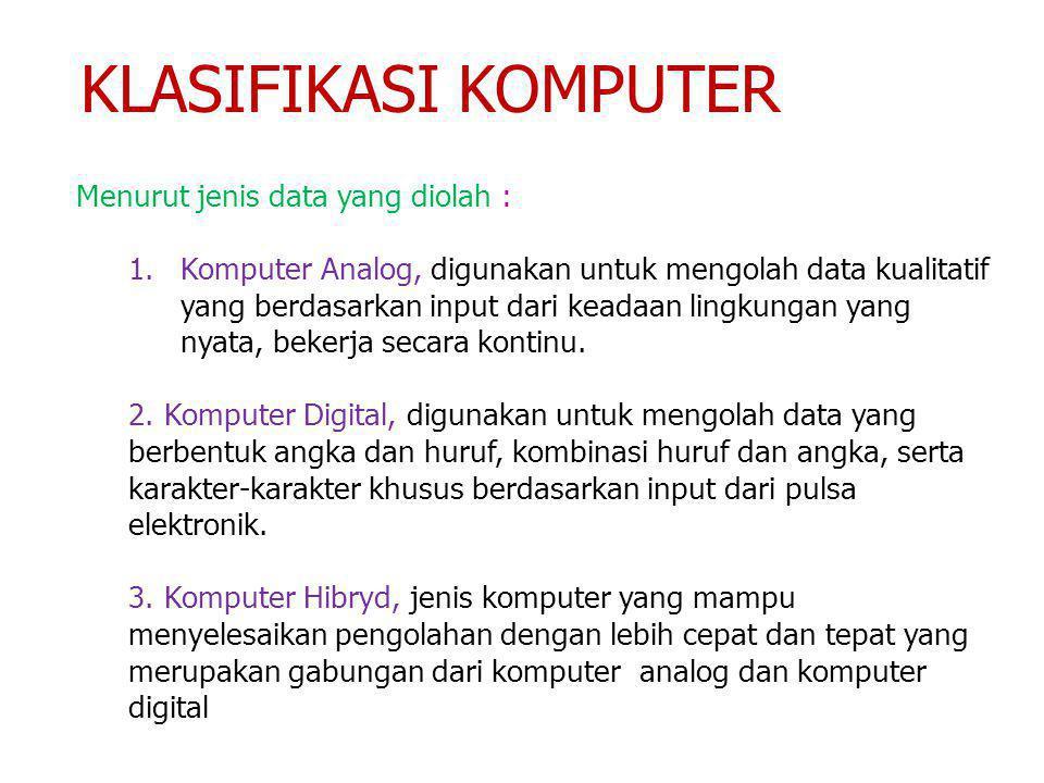 KLASIFIKASI KOMPUTER Menurut jenis data yang diolah :