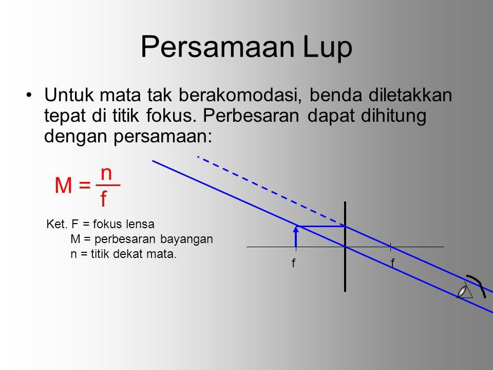 Persamaan Lup Untuk mata tak berakomodasi, benda diletakkan tepat di titik fokus. Perbesaran dapat dihitung dengan persamaan: