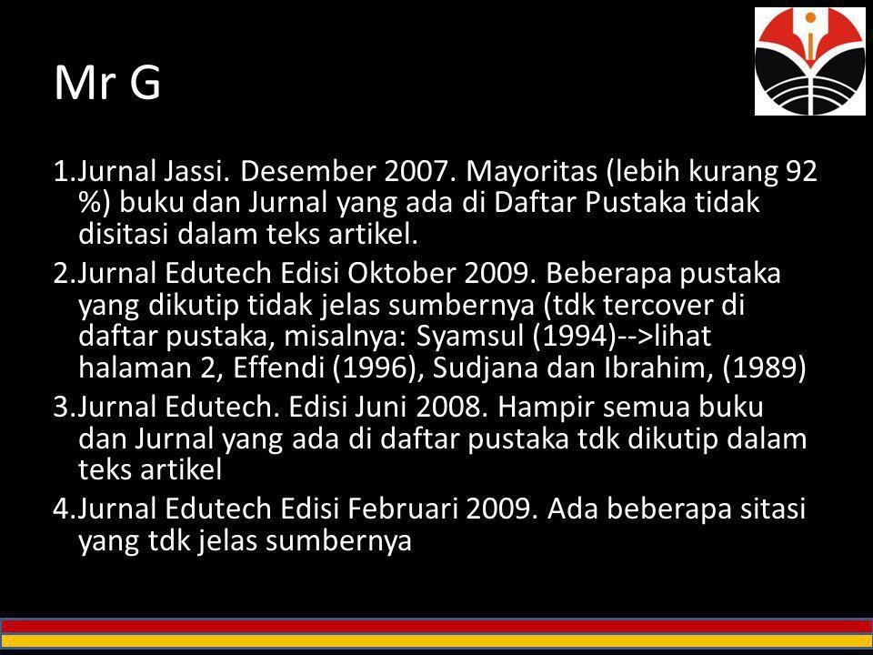 Mr G Jurnal Jassi. Desember 2007. Mayoritas (lebih kurang 92 %) buku dan Jurnal yang ada di Daftar Pustaka tidak disitasi dalam teks artikel.