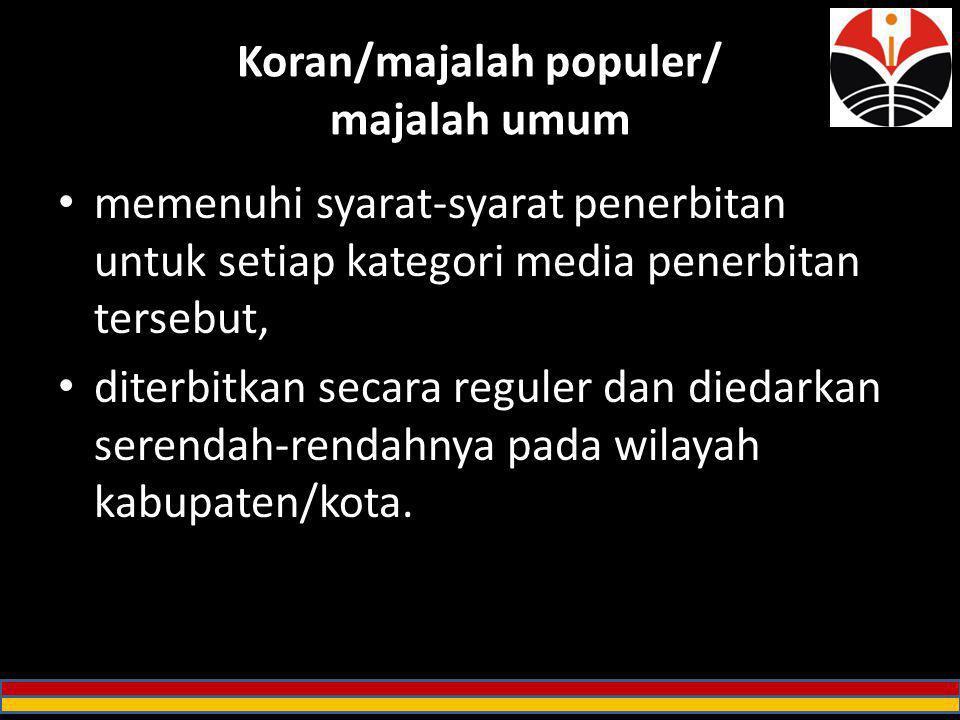 Koran/majalah populer/ majalah umum