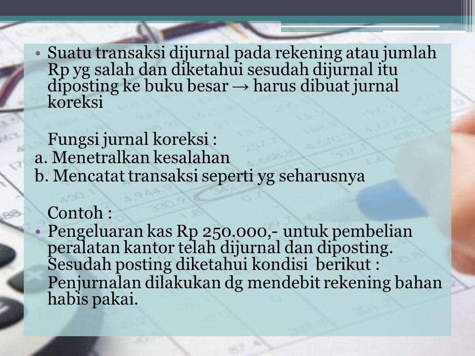 Suatu transaksi dijurnal pada rekening atau jumlah Rp yg salah dan diketahui sesudah dijurnal itu diposting ke buku besar → harus dibuat jurnal koreksi