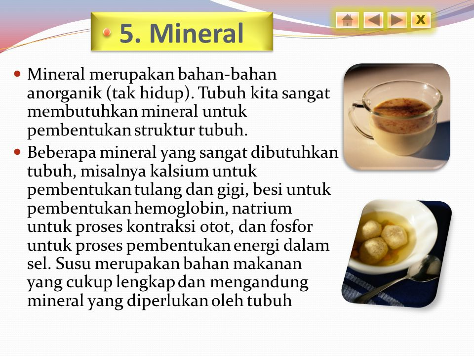 5. Mineral X. Mineral merupakan bahan-bahan anorganik (tak hidup). Tubuh kita sangat membutuhkan mineral untuk pembentukan struktur tubuh.