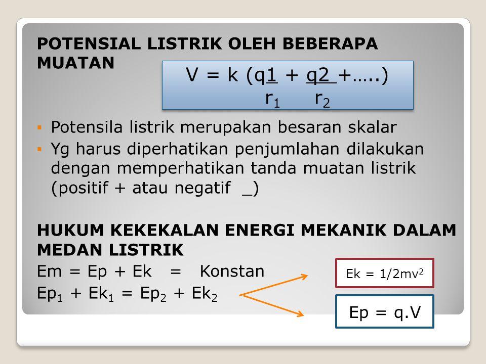 V = k (q1 + q2 +…..) r1 r2 POTENSIAL LISTRIK OLEH BEBERAPA MUATAN