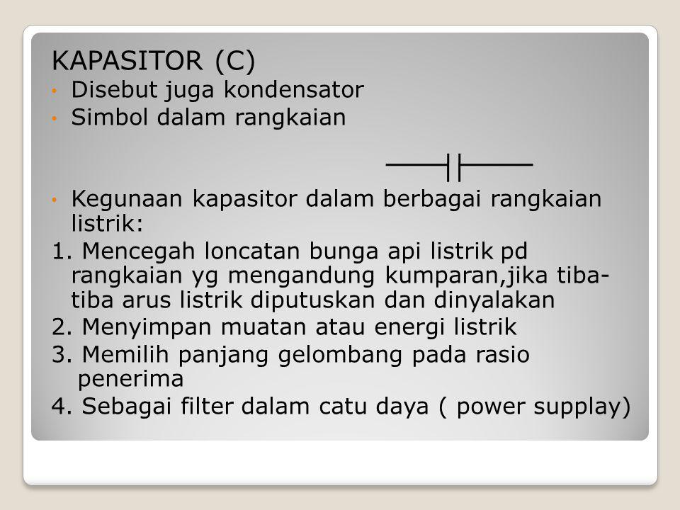 KAPASITOR (C) Disebut juga kondensator Simbol dalam rangkaian