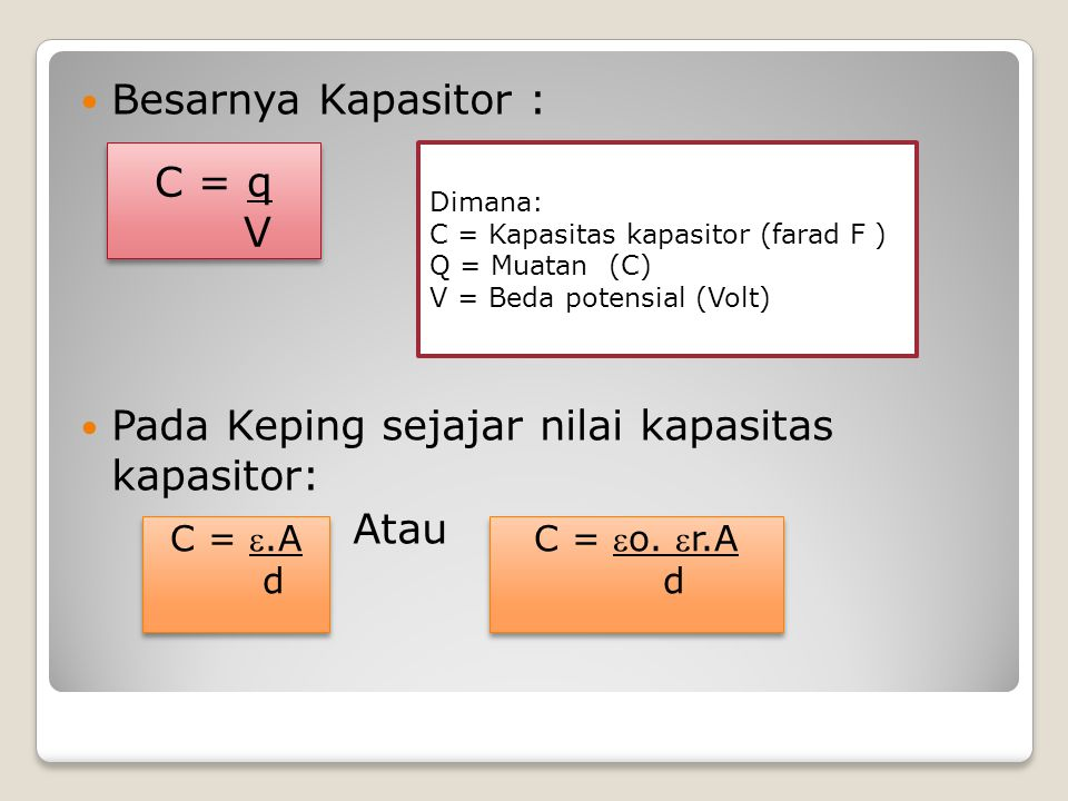 Pada Keping sejajar nilai kapasitas kapasitor: Atau C = q V