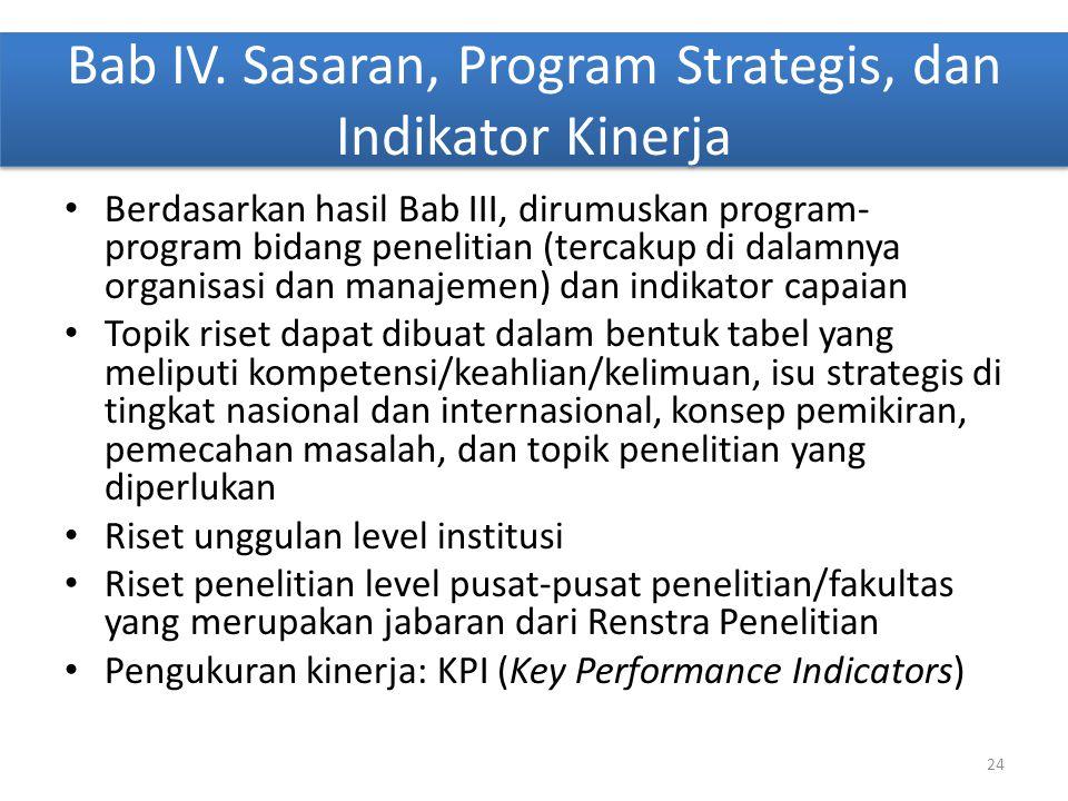 Bab IV. Sasaran, Program Strategis, dan Indikator Kinerja