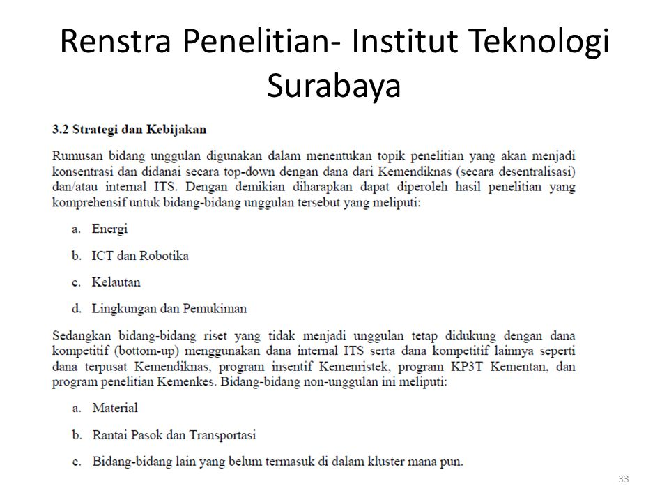 Renstra Penelitian- Institut Teknologi Surabaya