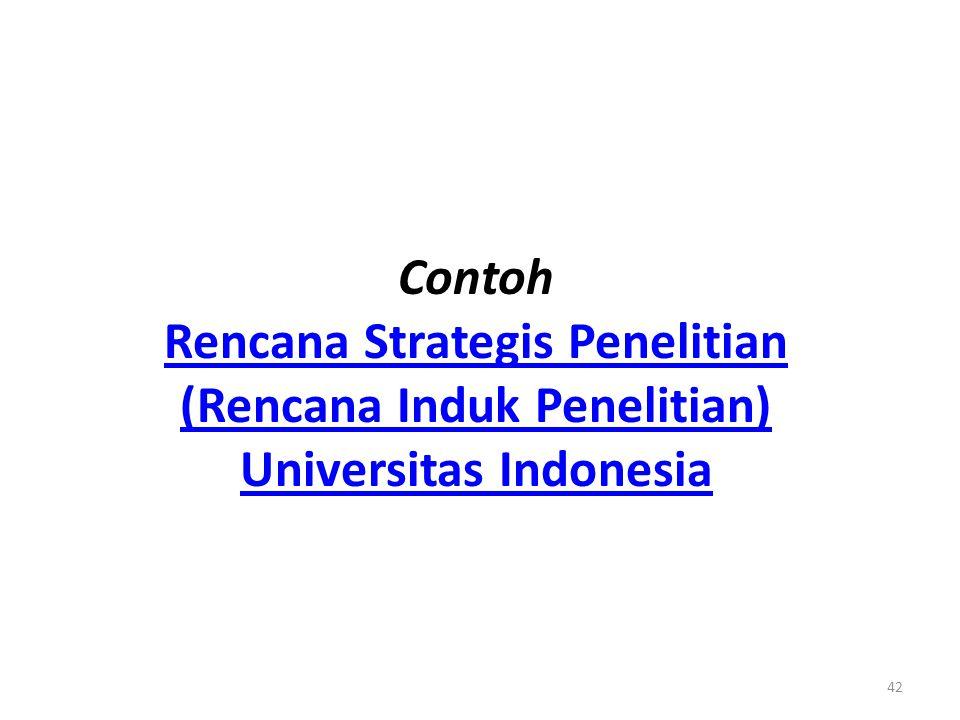 Contoh Rencana Strategis Penelitian (Rencana Induk Penelitian) Universitas Indonesia
