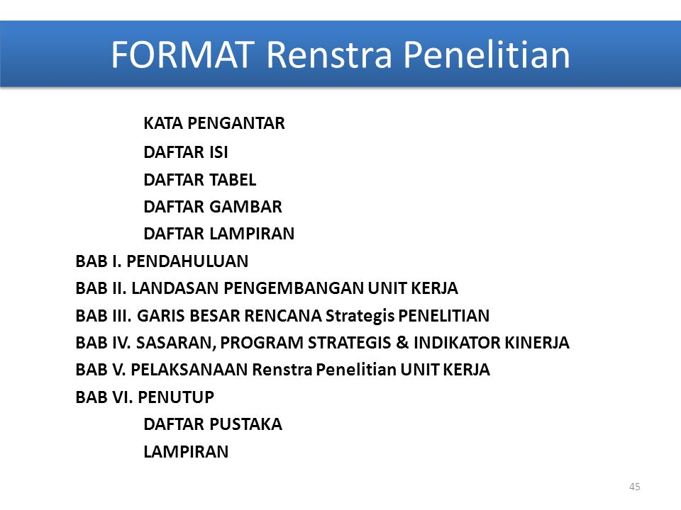 FORMAT Renstra Penelitian