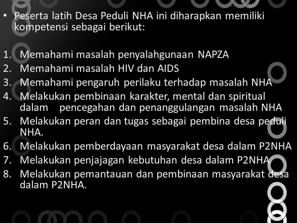 Peserta latih Desa Peduli NHA ini diharapkan memiliki kompetensi sebagai berikut: