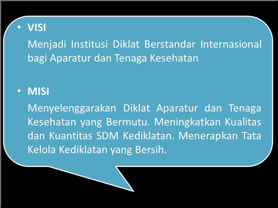 VISI Menjadi Institusi Diklat Berstandar Internasional bagi Aparatur dan Tenaga Kesehatan. MISI.