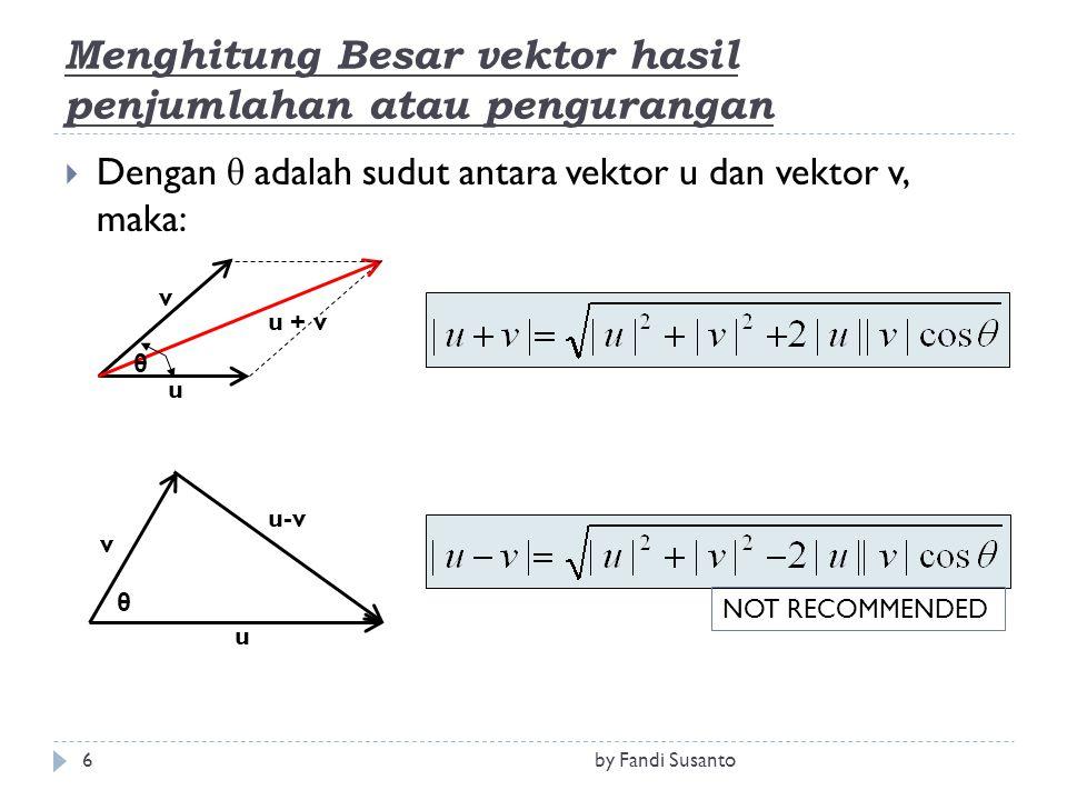 Menghitung Besar vektor hasil penjumlahan atau pengurangan
