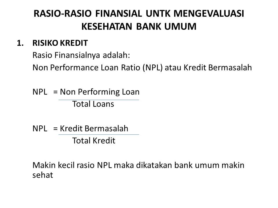 RASIO-RASIO FINANSIAL UNTK MENGEVALUASI KESEHATAN BANK UMUM