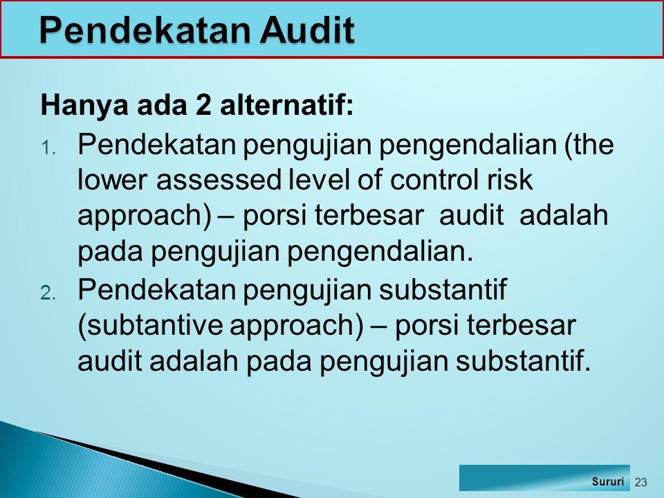Pendekatan Audit Hanya ada 2 alternatif: