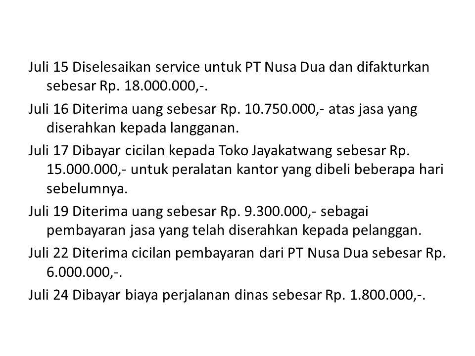 Juli 15 Diselesaikan service untuk PT Nusa Dua dan difakturkan sebesar Rp. 18.000.000,-.