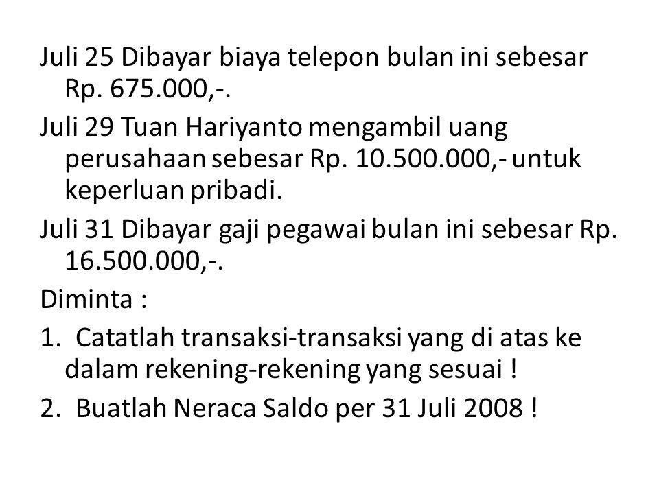 Juli 25 Dibayar biaya telepon bulan ini sebesar Rp. 675. 000,-